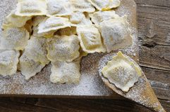 Preparing fresh ravioli. Royalty Free Stock Images