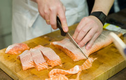 Free Preparing Fresh Salmon Fish Royalty Free Stock Photos - 28593988