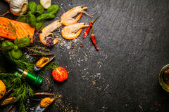 Preparing fresh seafood in the kitchen royalty free stock photography