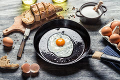 Preparing for frying eggs on a pan Royalty Free Stock Photography