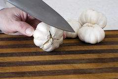 Preparing Garlic Heads for Roasting. Several garlic heads rest on a cutting board while a knife prepares to slice through the first one Stock Images