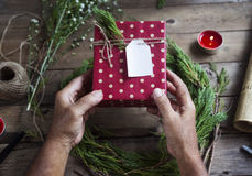 Preparing gifts for Christmas and newyear. Stock Photo