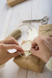 Preparing gifts for Christmas Royalty Free Stock Images
