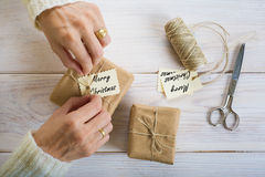 Preparing gifts for Christmas Royalty Free Stock Photography