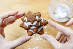 Preparing gingerbread christmas tree. Steps of making delicious and decorative xmas dessert Stock Image