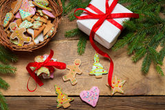 Preparing gingerbread cookies as a gift Stock Images