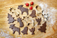 Preparing gingerbread cookies for christmas Stock Image