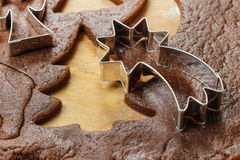 Preparing gingerbread cookies for christmas Stock Images