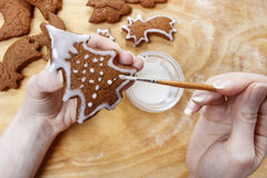Preparing gingerbread cookies for christmas. Steps of making biscuits Royalty Free Stock Photos