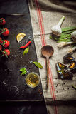 Preparing a gourmet savory mussel appetizer Royalty Free Stock Images