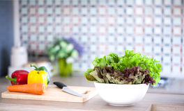 Preparing of Green Salad Royalty Free Stock Photos