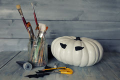 Preparing halloween decorations Royalty Free Stock Image