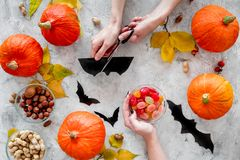 Preparing for halloween. Hands cut bats out of paper. Figures and pumpkins on grey background top view Stock Photography