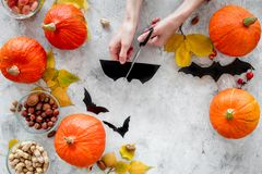 Preparing for halloween. Hands cut bats out of paper. Figures and pumpkins on grey background top view copyspace. Preparing for halloween. Hands cut bats out of Stock Image
