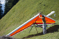 Preparing the Hand glider for take-off Royalty Free Stock Image