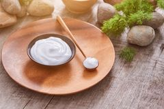 Preparing handmade hydrating natural gel and anti-aging cosmetic. From extract of aloe vera leaves with pebbles and wooden background for zen beauty, top view Royalty Free Stock Photo
