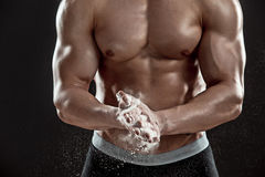 Preparing hands for lifting weights Royalty Free Stock Images