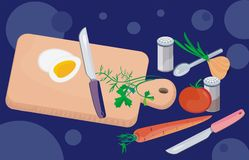 Preparing healthy food. Background with vegetables, herbs, chopping board and knife Stock Image