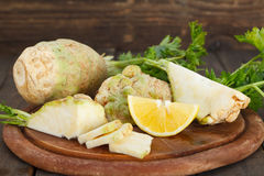 Preparing healthy salad with celery Stock Photography