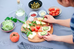Preparing healthy snacks Stock Image