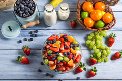 Preparing a healthy spring fruit salad Royalty Free Stock Photography