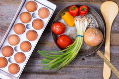 Preparing a healthy vegetarian omelette royalty free stock photos