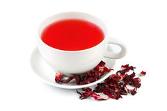 Preparing hibiscus tea. On white background Stock Photo
