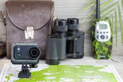 Preparing for a hike with action camera stock images