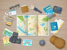 Preparing for hiking tour, vacation, travel. Planning, packing check list. Wooden table with tourist map, guidebook, tickets. Passportp. Wooden table top view vector illustration