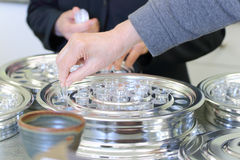 Preparing holy communion wine cups Royalty Free Stock Photography