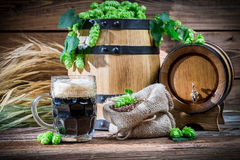Preparing for home beer brewing. On old wooden table royalty free stock image