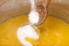 Preparing homemade mellow mirabelle jam Royalty Free Stock Photo