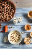 Preparing homemade nuts ice cream Stock Image