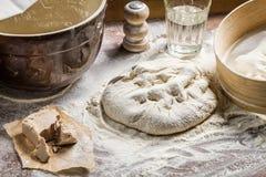 Preparing homemade pizza dough Royalty Free Stock Photography