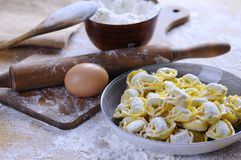 Preparing homemade tortellini. Royalty Free Stock Photography