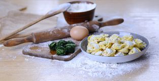 Preparing homemade tortellini. Royalty Free Stock Photos