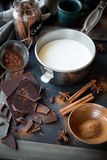 Milk in a pot, dark chocolate, cinnamon and star anise Stock Images