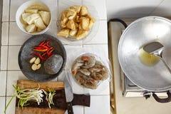 Preparing ingredient. To cook spicy stir fried shrimp tofu Stock Image