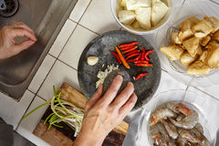 Preparing ingredient. To cook spicy stir fried shrimp tofu Royalty Free Stock Photography
