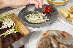 Preparing ingredient. To cook spicy stir fried shrimp tofu Stock Images