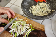 Preparing ingredient. To cook spicy stir fried shrimp tofu Royalty Free Stock Images