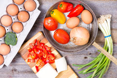 Preparing ingredients for a tasy omelette Stock Image
