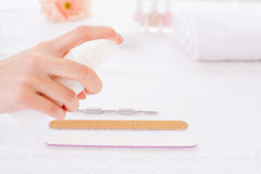 Preparing instruments for manicure. Royalty Free Stock Image