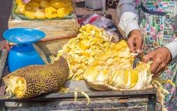 Preparing jackfruit Stock Photos