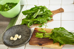 Preparing Japanese spinach sauted Royalty Free Stock Photo