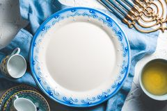 Preparing for the Jewish holiday of Hanukkah free space Royalty Free Stock Photography