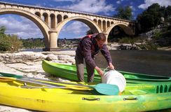 Preparing for kayaking to Pont du Gard Stock Photography