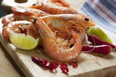 Preparing King Prawns Royalty Free Stock Photography