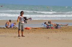 Preparing For The Kite Flying Championships Stock Image