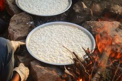 Preparing Knafeh outdoor Stock Image